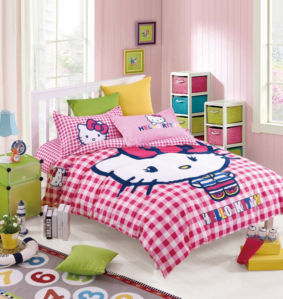 best quality 100 cotton cartoon hello kitty bedding set mickey minnie mouse bedding duvet cover