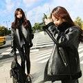 2016 nova inverno rua atirando grosso do cordeiro lã fur mulheres jaqueta de couro da motocicleta Jaqueta De Couro pesado