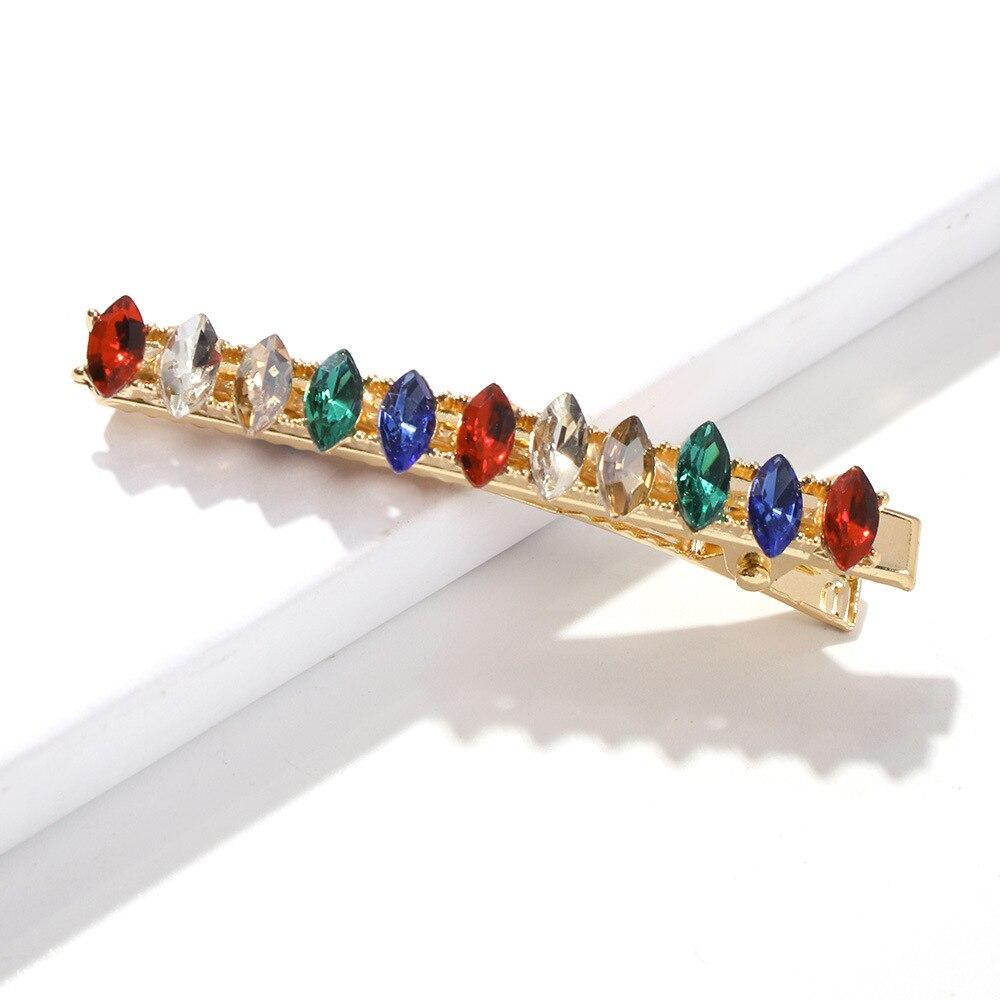Hairpins Rainbow-Hair Rhinestone Luxury Barrettes Clips Bobby-Pins Trend-Accessories