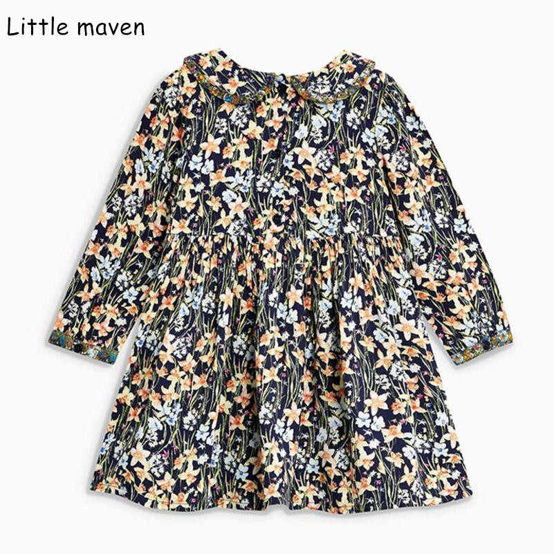 Little maven kids brand 2018 autumn new children's dress baby girls clothes Cotton flower print girl dresses S0378