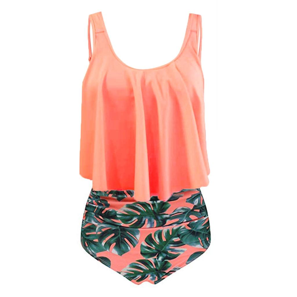 HTB1rpMBavjsK1Rjy1Xaq6zispXaS Women's Swimming Suit 2019 Sexy Bikini Swimsuit Women Two Piece Plus Size Sexy Backless Halter Dot Printed Swimwear Set