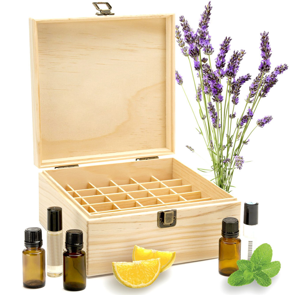 25 Slots Holz Ätherische Öle Box Massivholz Fall Halter Aromatherapie Flaschen Speicherorganisator 18,6 * 18,6 * 18,5 cm Kiefernholz