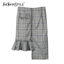 TWOTWINSTYLE Summer Fashion Plaid Skirts For Women High Waist Asymmetrical Ruffle Women's Skirt Large Sizes Casual Fashion 2019(China)