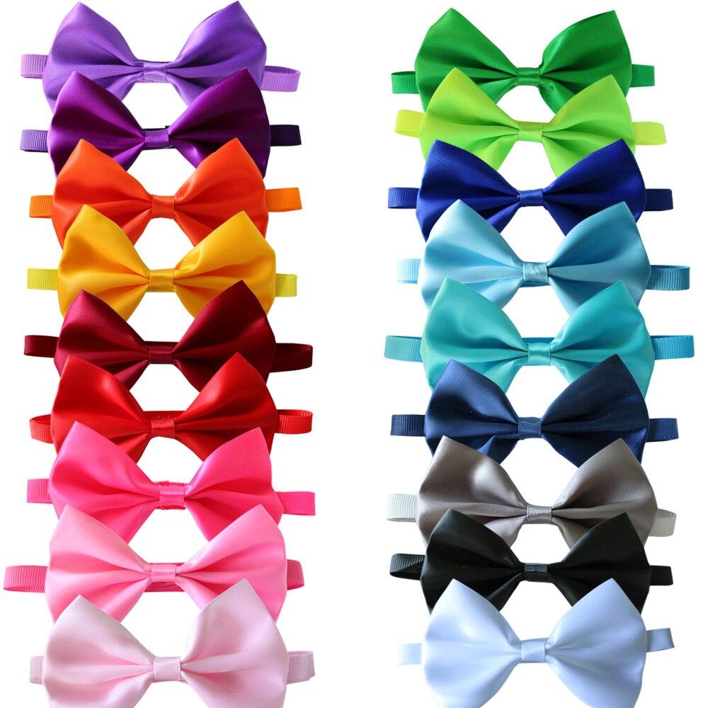 100pcs font b Pet b font Cat Dog Bow Ties Solid Ribbon font b Pet b