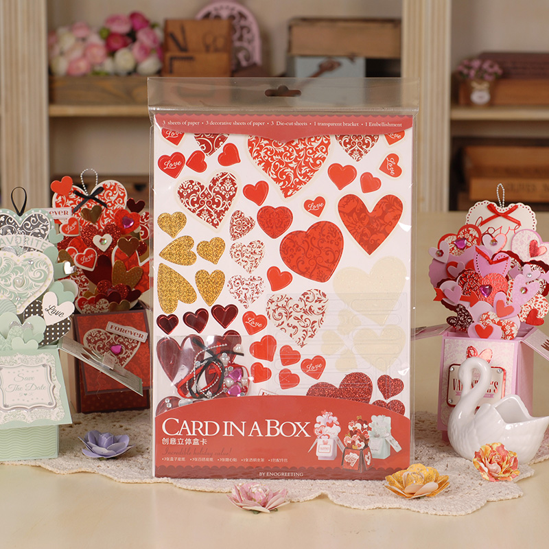 valentine's card in a box cardstock paper 3d pop up cards for lover,couple diy love greeting cards