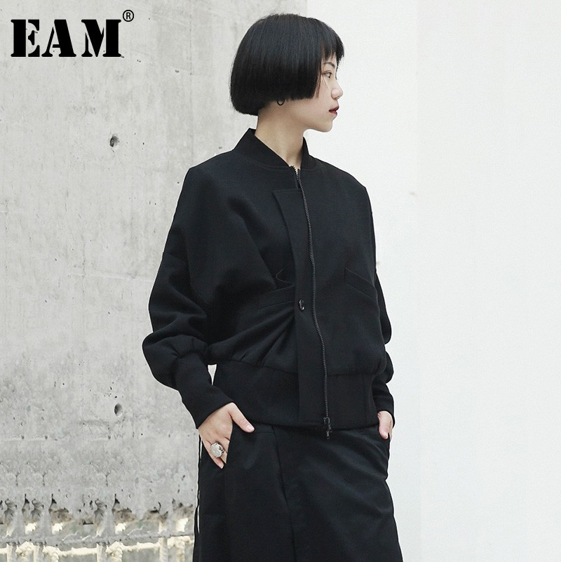 EAM 2019 New Spring Stand Collar Long Sleeve Black Oblique Button Fold Large Size Jacket
