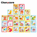 Baby Learning Educational Wooden Toys Magnetic Puzzle Jigsaw Board Animal Cat Elephant Lion Matching Enlightenment Gifts 4037