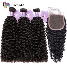 Brazilian Kinky Curly Bundles With Closure Human Hair Weave 3 Extension Remy Women