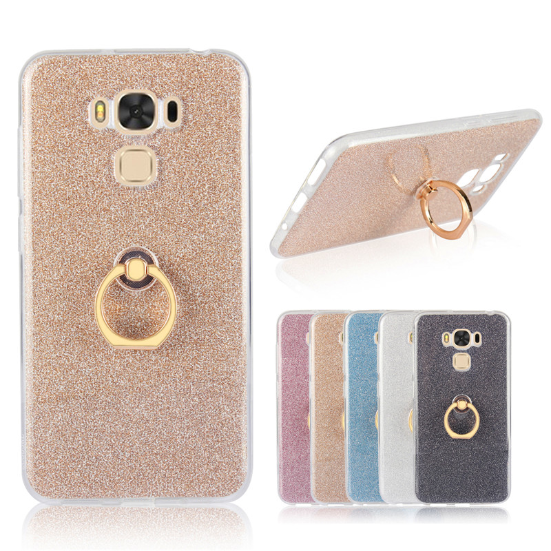 2Pcs ZenFone 3 Max ZC553KL Silicon TPU Case with Rotate Ring Holder Shiny Glitter Back Cover Case for Asus ZenFone 3 Max ZC553KL