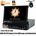 """Одноместный 1din dvd-плеер автомобиля универсальный 7 """"раздвижные HD цифровой сенсорный GPS navigat автомобиль аудио стерео Bluetooth автомобильный GPS с камеры заднего вида"""