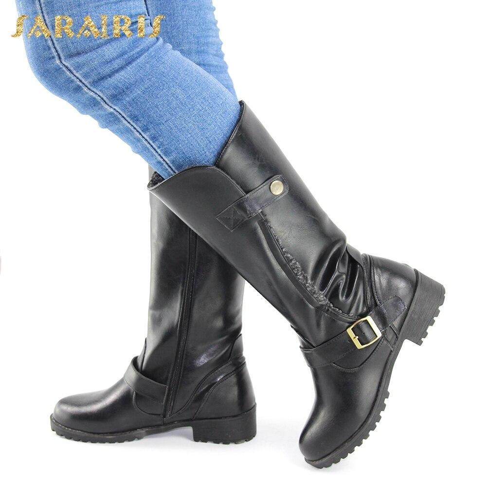 34 Negro 2018 Botas Zapatos Grande huang Sarairis Felpa Al Invierno Cálido De Montar 43 Altas Mayor Mujeres Rodilla Mujer Tamaño Por Hebillas tdRzwzq