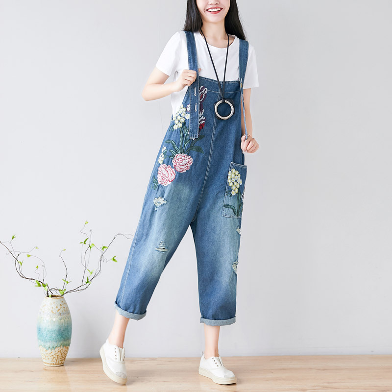 Women Spring Summer Embroidered Floral Denim Jumpsuits Pants Ladies Flower Embroidery Loose Denim Overalls Rompers Jeans