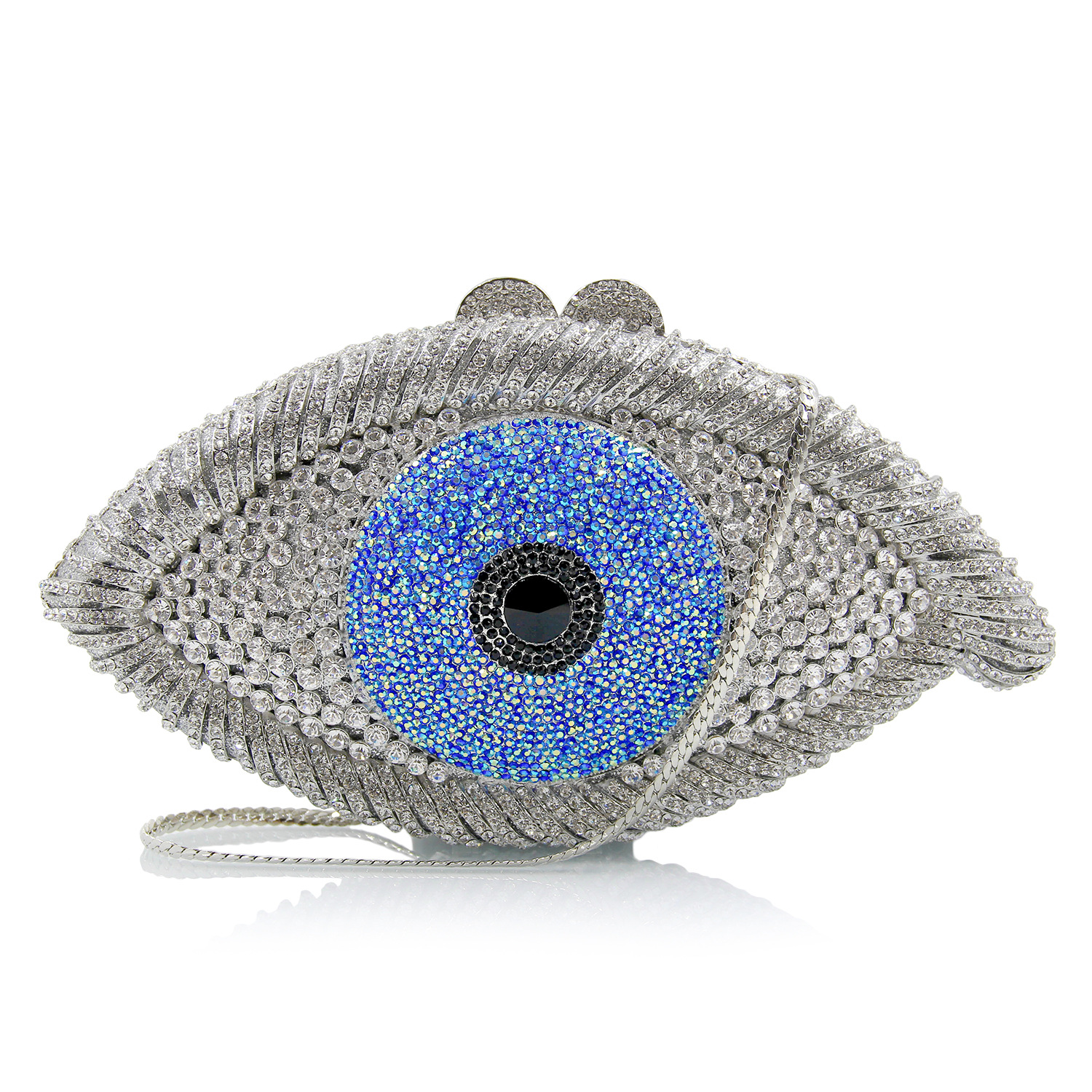 Women Crystal Cartoon Evening Bag Ladies Evil Eye Shape Clutch Bags Female Wedding Purses And handbags Evening Bag With Chain luxury crystal clutch bags uk hot sale pillow shaped white pearl clutch handbags for cheap women crystal evening bag with chain