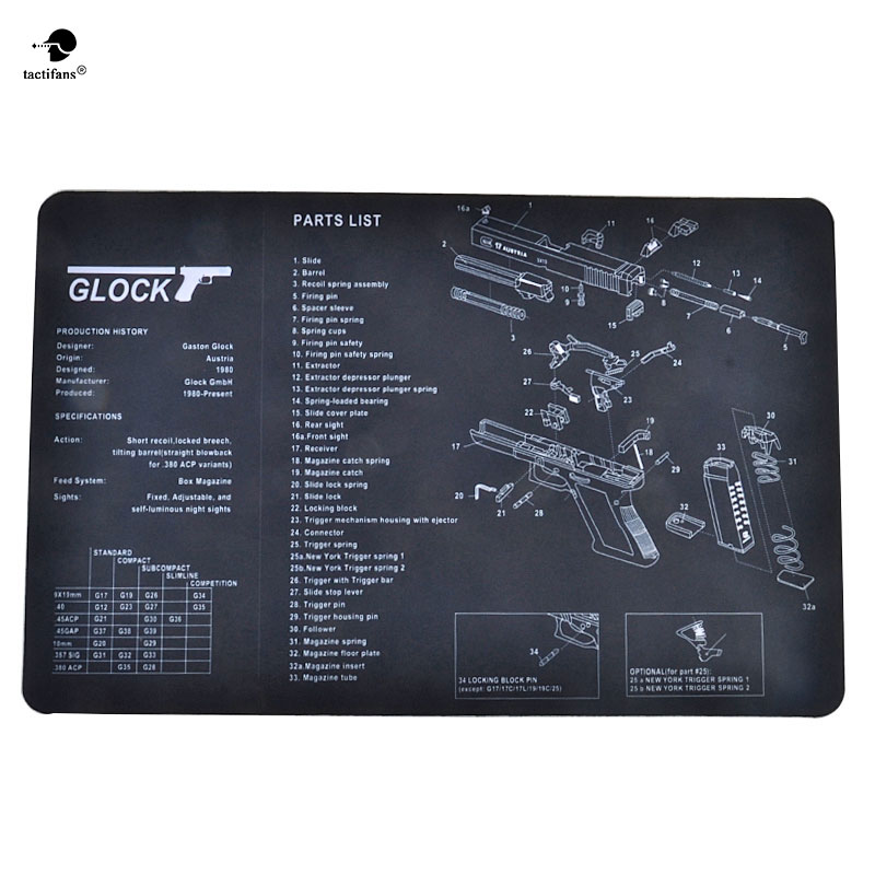 Tactifans Non-Slip Gun Cleaning Mat Bench Rubber Carpet With Diagram Parts And Instructions 1911 P229 P226 P220 Glock S&W B92