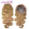 Angelbella rubia peluca del frente del cordón del pelo humano peluca 1 unids/lote malasia onda del cuerpo 27 # bl cosplay wionde encaje frontal pelucas de la onda