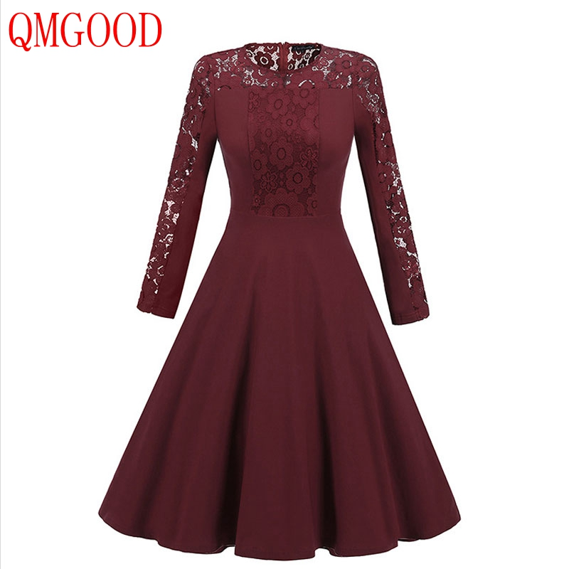 QMGOOD Solid Color Women Lace Dress Autumn New Long Sleeves Lace Spliced A Dress Elegant Lady Party Prom Swing Dresses O Neck XL
