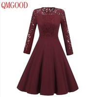 QMGOOD Solid Color Women Lace Dress Autumn New Long Sleeves Lace Spliced A Dress Elegant Lady