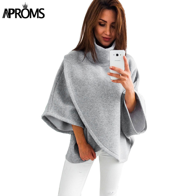 Aproms Elegant Gray TurtLeneck Irregular Blouse Womens 3/4 Sleeve Casual 90s Loose Top Street Fashion Wide Cuffs Shirt Blusas