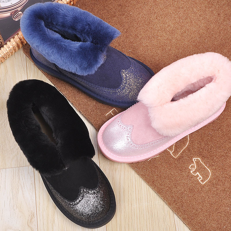grwg Cuwhf Mini Snow Shoes Women Boots Real Leather Women Winter Boots Warm 100%Natural Snow Boots Fashion Shoes