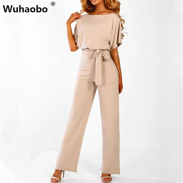 Wuhaobo manga corta 2019 nuevas mujeres mono sólido botón trasero Bodysuits mujer Casual Primavera Verano monos mujer monos