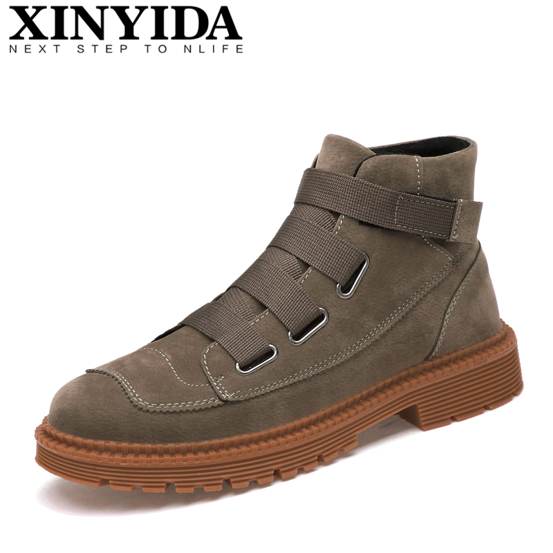 Hot Sale Fashion Men Martin Boots Hook&Hoop Warm Plush High Top Men Boots High Quality Genuine Leather Men Snow Boots Size 38-44 hot sale new fashion winter man martin boots warm shoes fur inside men high top genuine leather luxury brand snow boots 38 44