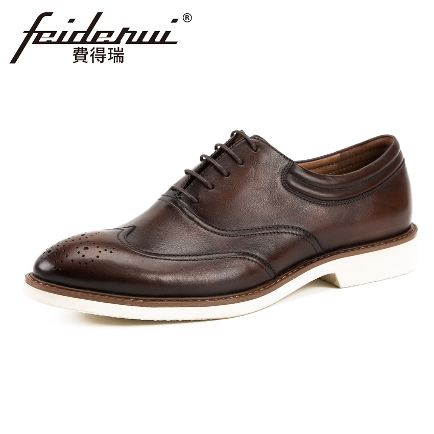 2018 British Genuine Leather Men's Handmade Casual Oxfords Round Toe Man Formal Dress Business Office Carved Brogue Shoes KUD157 men luxury crocodile style genuine leather shoes casual business office wedding dress point toe handmade brogue footwear oxfords page 2 page 5 page 5 page 4