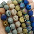 5Strands/Lot Metallic Titanium Coated Mixed Natural Quartz Crystal Round Druzy Agate Stones Beads 8mm 10mm 12mm 14mm 7.5""