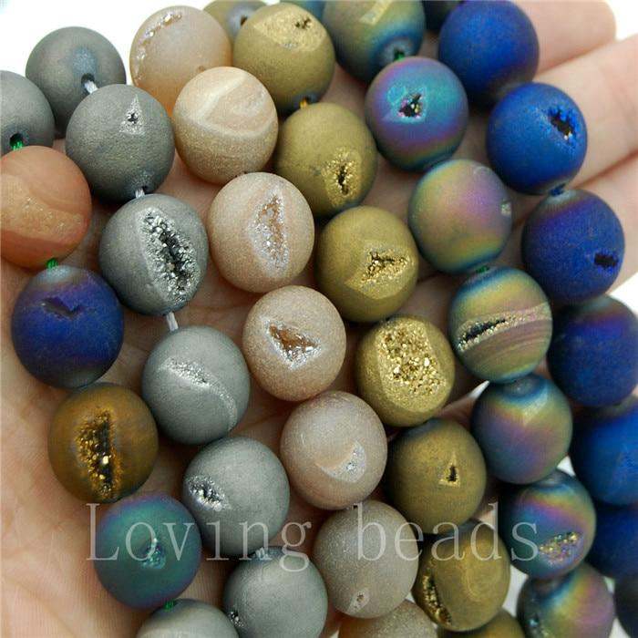 Natural Druzy Quartz Agate Blue Titanium Coated Round Beads 8mm 10mm 12mm 14mm