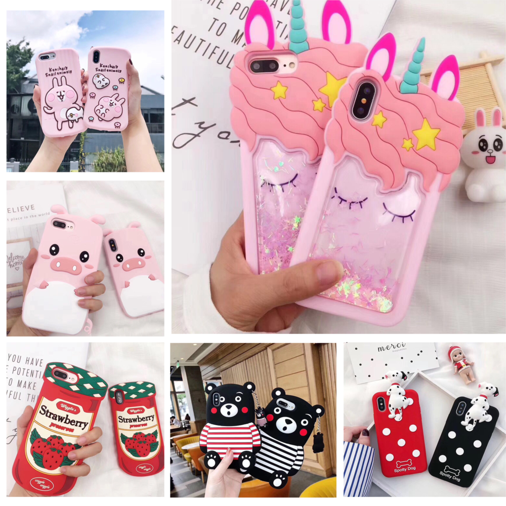 Luxury silicone series phone case for iPhone X XS 6 6S 7 8 Plus pet unicorn strawberry jam Kumamoto bear spotted dog cover coque