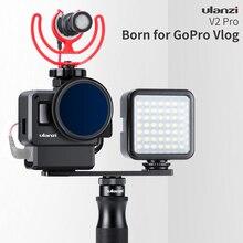 Ulanzi V2 Pro Gopro Vlog чехол клетка с УФ-фильтр 52 мм с фильтром микрофонный адаптер бленда Vlogging чехол с Продлить полюс крепление для Gopro iPhone 7 6 5