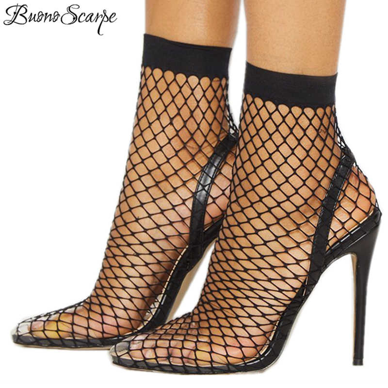 Buono Scarpe Women Pointed Toe Mesh Holes Sandales Sexy High Heels Stiletto  Transparent Shoes Black Brand 8e7e42b1fd2e