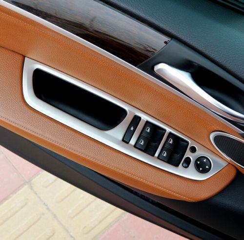 Steel Chromium Styling Interior Door Handle Holder Window Lift Switch Cover Trim 4pcs For BMW X6 E71 2011 2012 2013 2014 chrome 3pcs interior head light lamp switch button cover trim for bmw 5 series f10 2011 2012 2013 2014 car styling