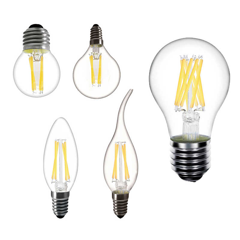 LED Bulb Filament E27 220V E14 LED Candle Light Bulb LED 230V Bulb Lamp Antique Retro Vintage Glass