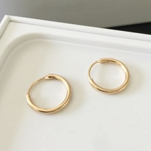 Simple Style Round Hoop Earrings Copper Circle Earring 12mm For Men Women Fashion Ear Piercing Jewelry Silver Gold Color