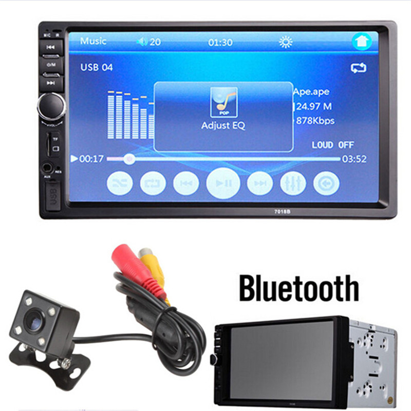 7018B 7 LCD HD Double DIN Car In-Dash Touch Screen Bluetooth Car Stereo FM MP3 MP5 Radio Player with Wireless Remote Controller ultra thin 7 touch screen lcd wince 6 0 gps navigator w fm internal 4gb america map light blue