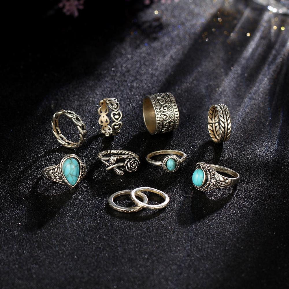 HTB1rpOpRXXXXXXRapXXq6xXFXXXM 10-Pieces Vintage Tibetan Turquoise Knuckle Ring Set For Women - 2 Colors