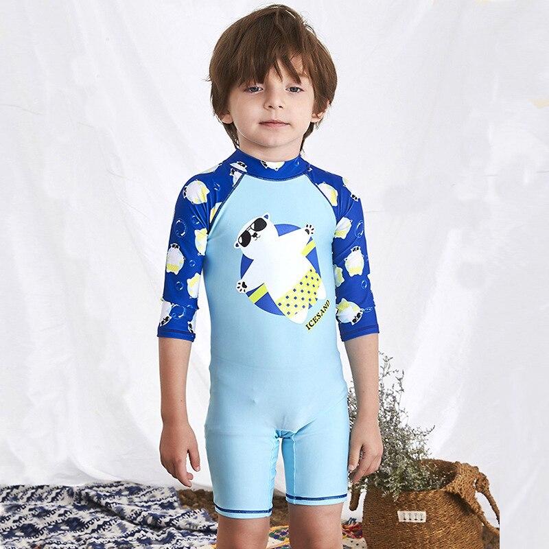 Купальник для детей цельный дети купальники Купальник-бикини серфинг костюм 2018 новый мальчик милый ребенок 28063 животных полиэстер Surfer