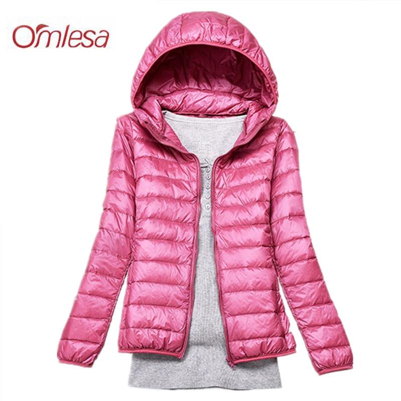 OMLESA 2018 New Autumn Winter Ultra-thin Jacket Hooded Zipper Lady Fashion Brand Leisure Long Slim Size Coat ZA390