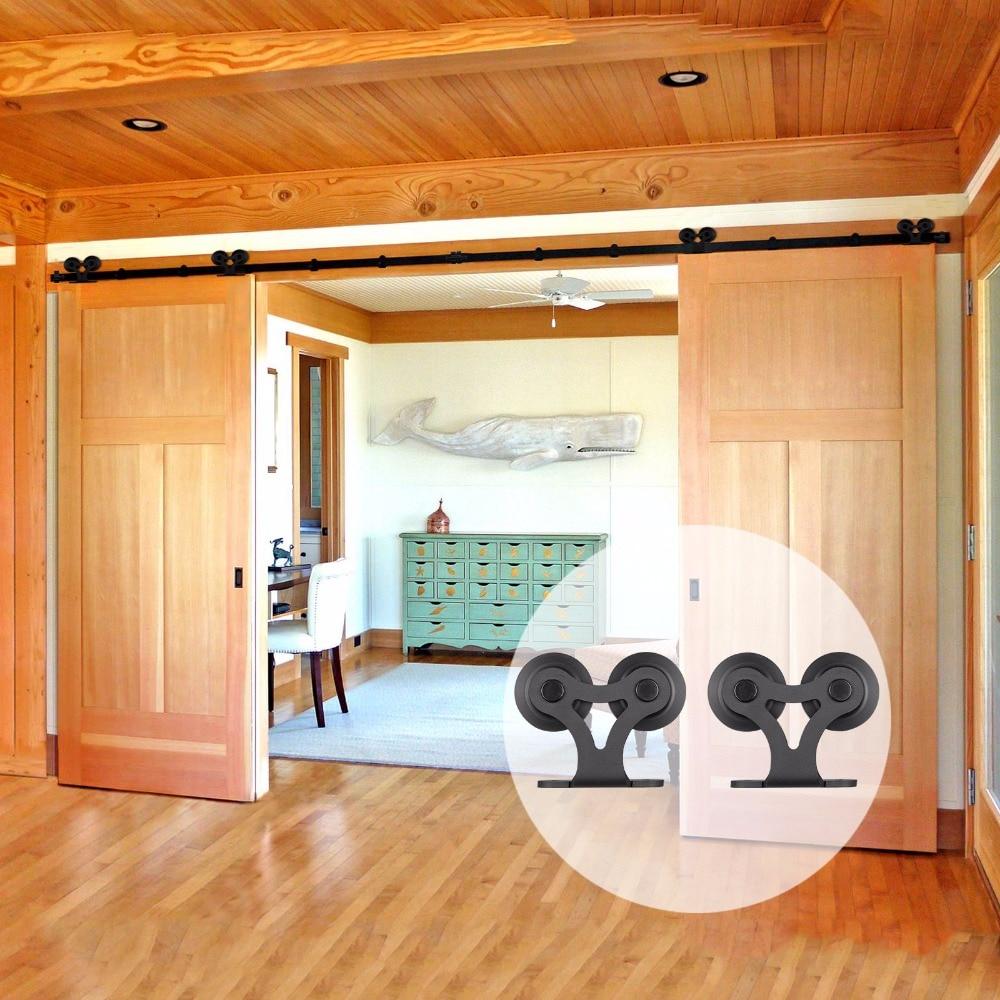 LWZH 11ft/12ft Sliding Barn Wood Door Hardware Set Black Steel Closet Sliding Door Double T Shaped Track Roller For Double Door