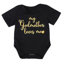 Summer Fashion Casual Gold Letter godmother loves me Newborn Toddler Infant Baby Girl Romper Jumpsuit Outfit Sunsuit Clothes