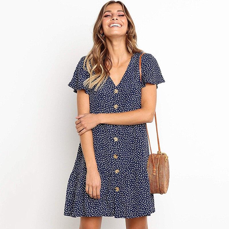 Vague Point femmes Mini robe été imprimer en vrac Boho femmes robe bohème volants décontracté plage dames robe courte Vestidos DR282