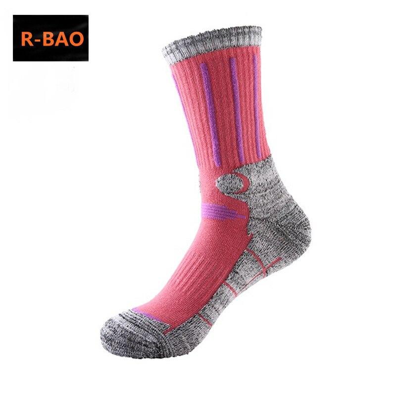 R-BAO 2 Pairs Cotton Outdoor Mountaineering Ski Socks Men Women Thicken Deodorant Antibacterial Sports Socks For Hiking M L
