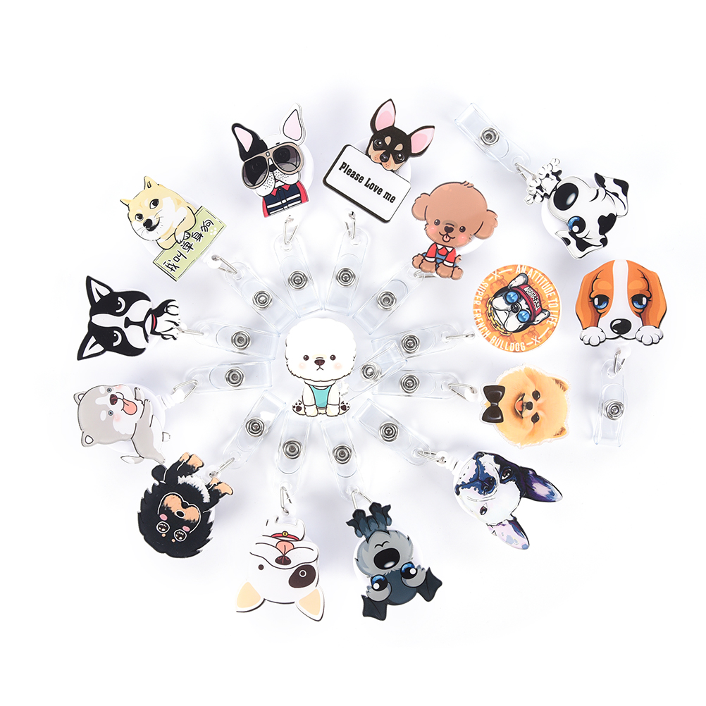 1Pc Retractable Badge Reel Mini Cartoon Dog The New Student Nurse Exihibiton ID Name Card Badge Holder Office Supplies