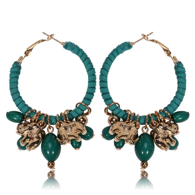 Handgemachte ethnische Boho Harz Perlen Quaste Ohrringe Vintage Lucky Elephant Charms Hoop Ohr Ring Sommer Beach Style Schmuck Frauen