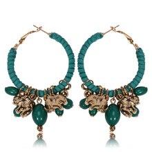 Handmade Ethnic Boho Resin Beads Tassel Earrings Vintage Lucky Elephant Charms Hoop Ear Ring Summer Beach Style JEwelry Women
