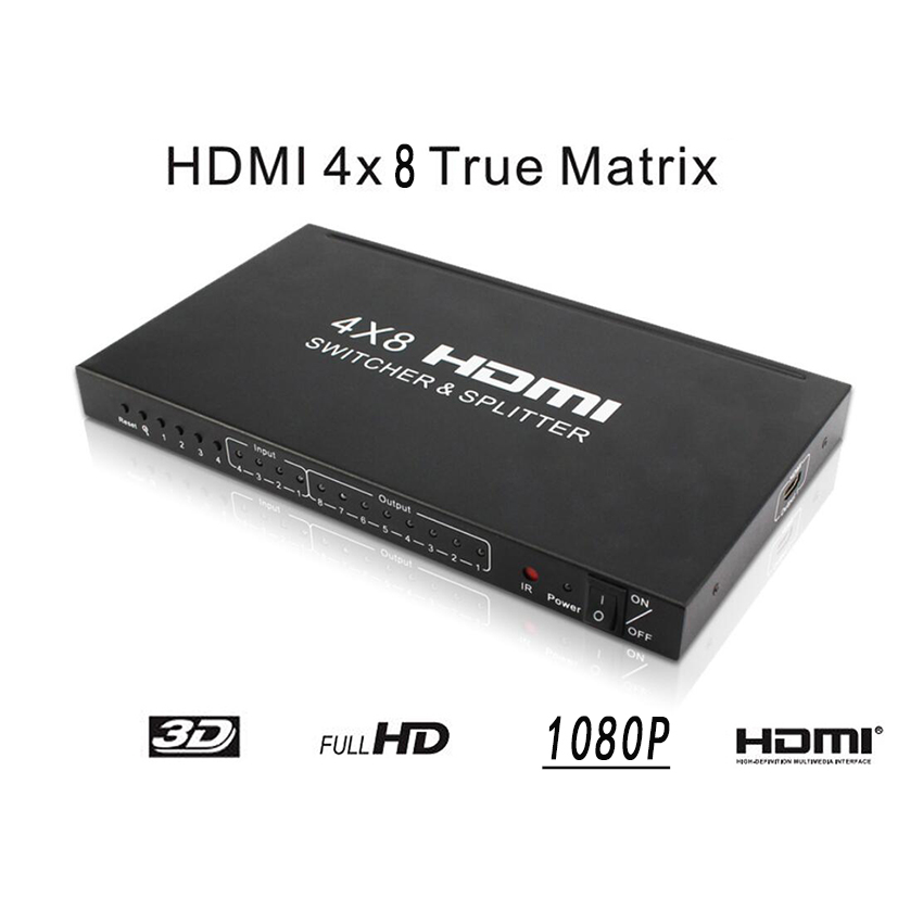 4X8 Matrix Switcher 1080P HD HDMI 4 Ports Inputs and 8 Port Outputs Supports 1080P, HDCP, 3D & Deep Color4X8 Matrix Switcher 1080P HD HDMI 4 Ports Inputs and 8 Port Outputs Supports 1080P, HDCP, 3D & Deep Color