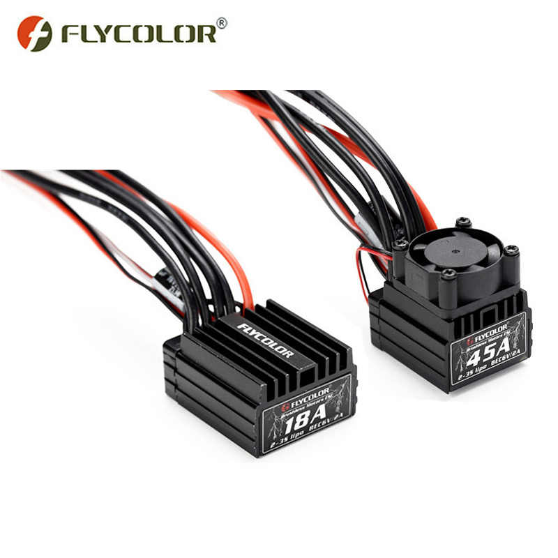 Flycolor lightning 18A 25A 35A 45A water-proof auto ESC 2-3 s voor RC 1/10 1/16 1/18 auto borstelloze electroinic speed controller