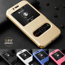 For Huawei Honor 6A case flip cover quick answer dual window silk pattern leather for 5.0 phone cases