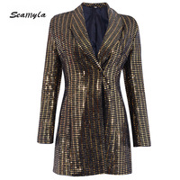 Seamyla New Fashion Women Coats Long Sleeve Celebrity Party Blazers 2018 Luxury Bling Sequined Outerwear Winter Night Out Coat