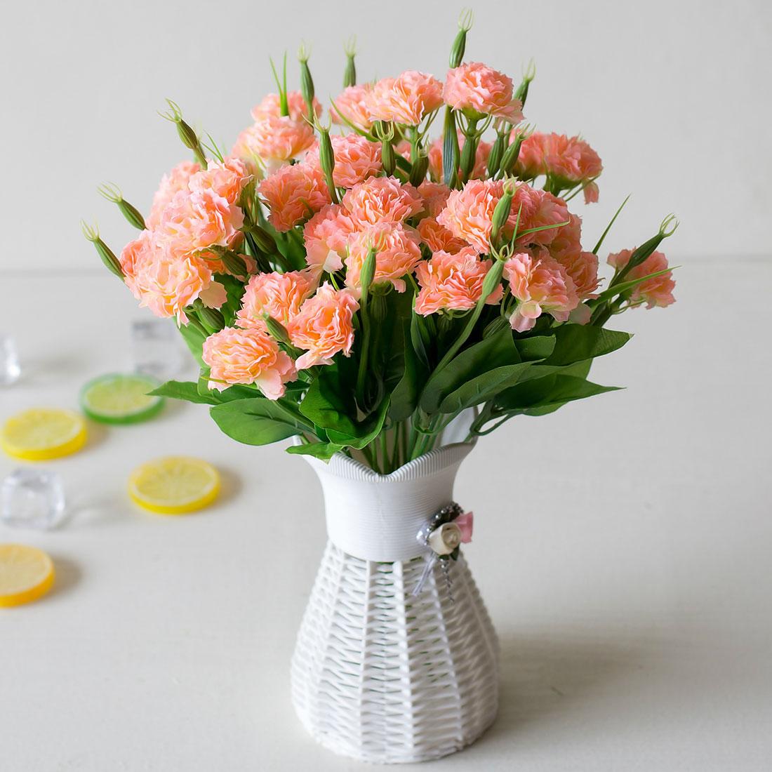 10 Heads 1 Bouquet Artificial Flowers Cheap Carnations Silk